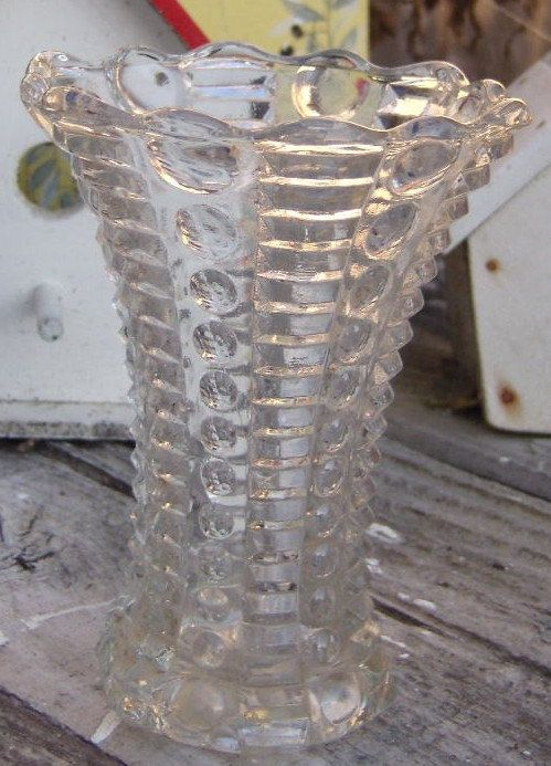 Small Vintage Press Glass Clear Hobnob Vase Blenko Glass And Other