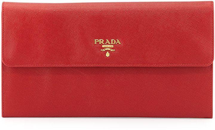89322e79f58bd5 Prada Saffiano Flap Travel Wallet, Red (Fuoco) | Women wallets ...