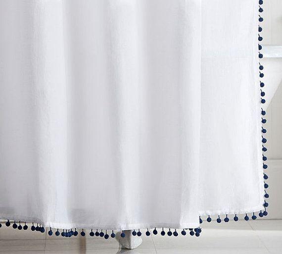 pom pom shower curtain