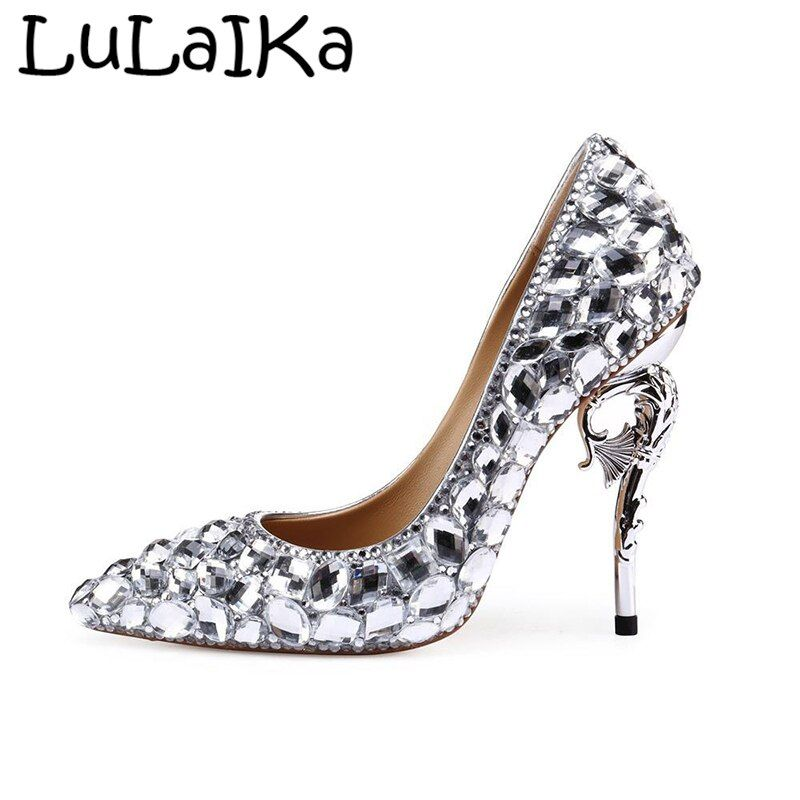 849afb30bd7 Sexy Crystal Shining Shoes Cinderella Lady Thin Heel Pointed Toe ...