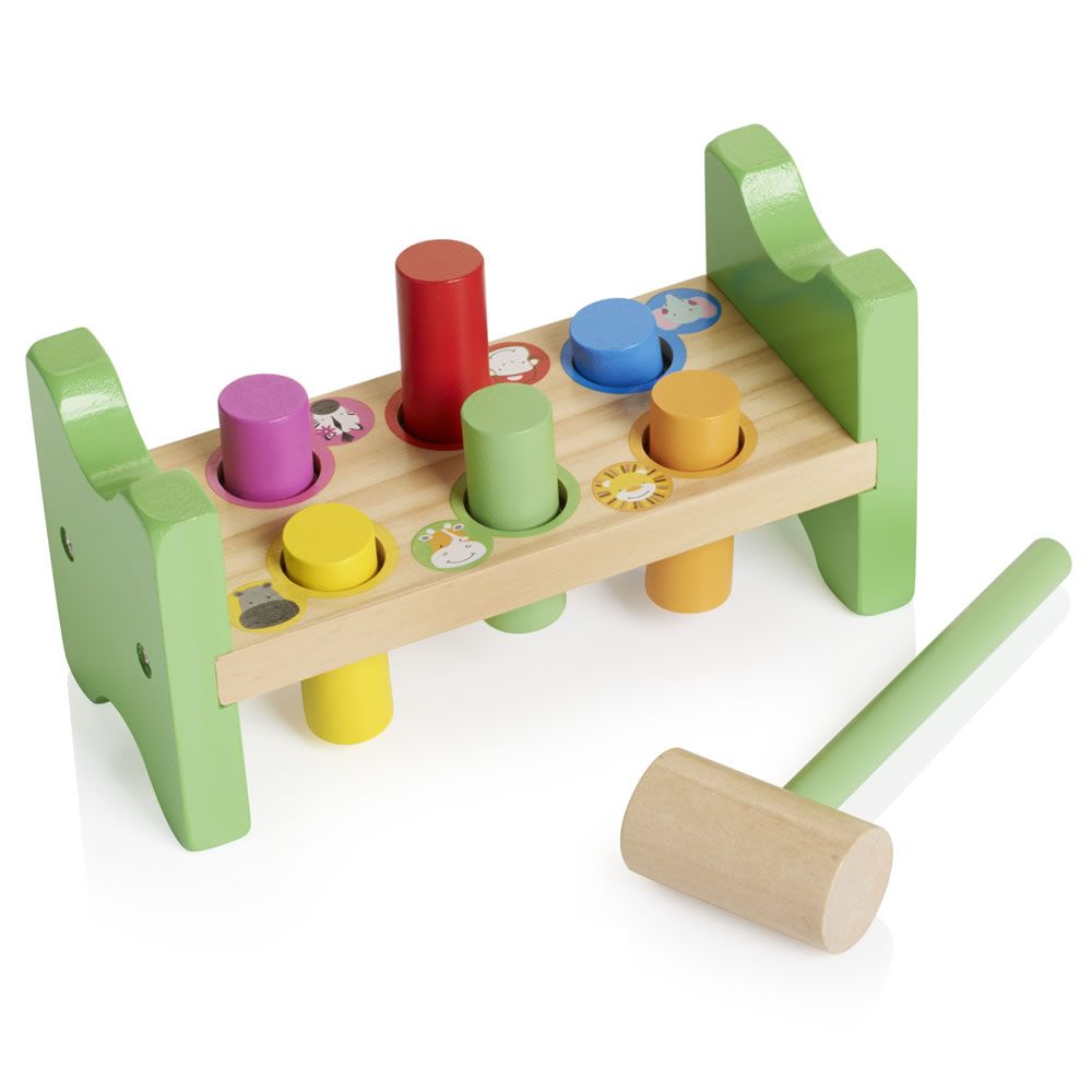 safari buddies wooden hammer and peg toy set | lucy present