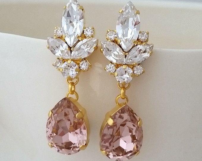 Blush earrings,White opal earrings,Rose gold earrings ...