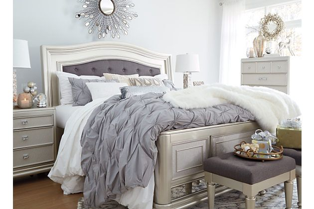 Coralayne Queen Panel Bed Silver Large Silver Bedroom Furniture Queen Panel Beds Queen Upholstered Bed