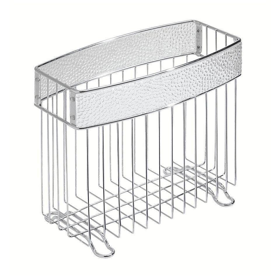 Idesign Rain Newspaper And Magazine Rack In Clear Chrome Bathroom Storage Boxes Interdesign Amazing Bathrooms