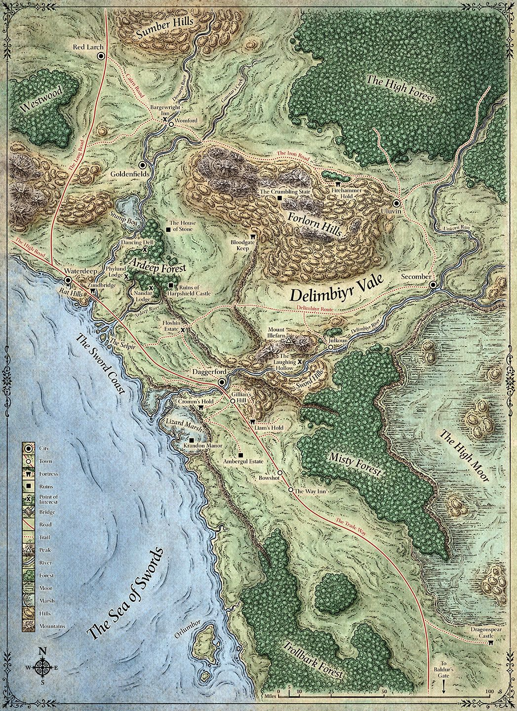 Sword Coast Map Crafts Pinterest Fantasy Map Map And Fantasy