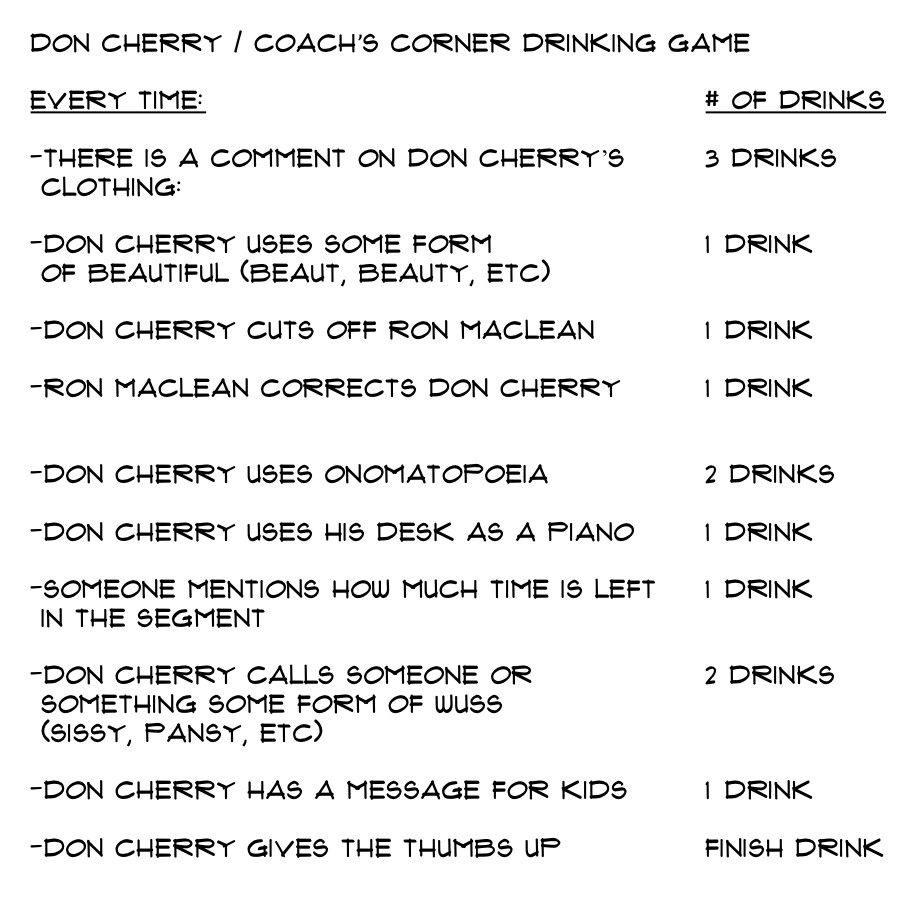 Don Cherry Coach S Corner Drinking Game Hockeygods Drinking Games Don Cherry Drinking
