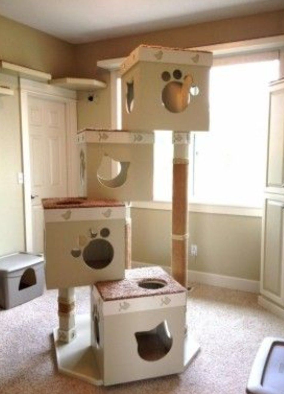 Cardboard Box Cat Tree Cat House Diy Cardboard Cat House Cat Box Furniture
