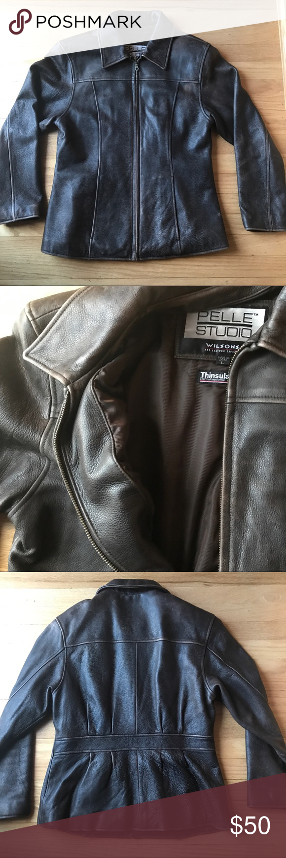 Wilsons Leather Brown Jacket With Thinsulate This