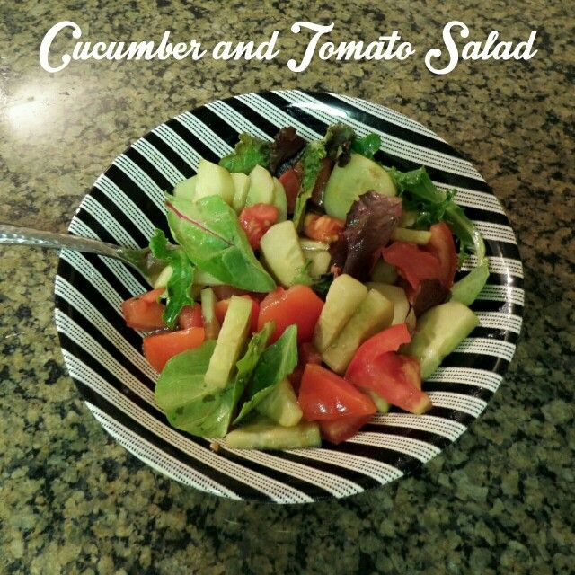 Yummy Cucumber and Tomato Salad for dinner on 3 Day REFRESH! More goodies at Facebook.com/hiphappyandhealthy