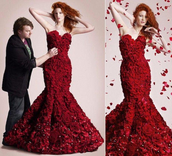 Fabulous floral wedding dress made from real flowers