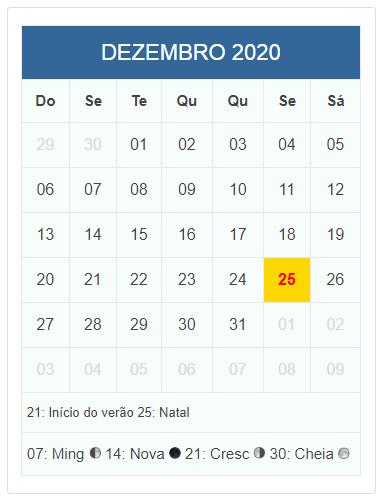 Calendario Dezembro 2019 Janeiro 2020.Calendario Do Mes Dezembro De 2020 Com Datas Comemorativas