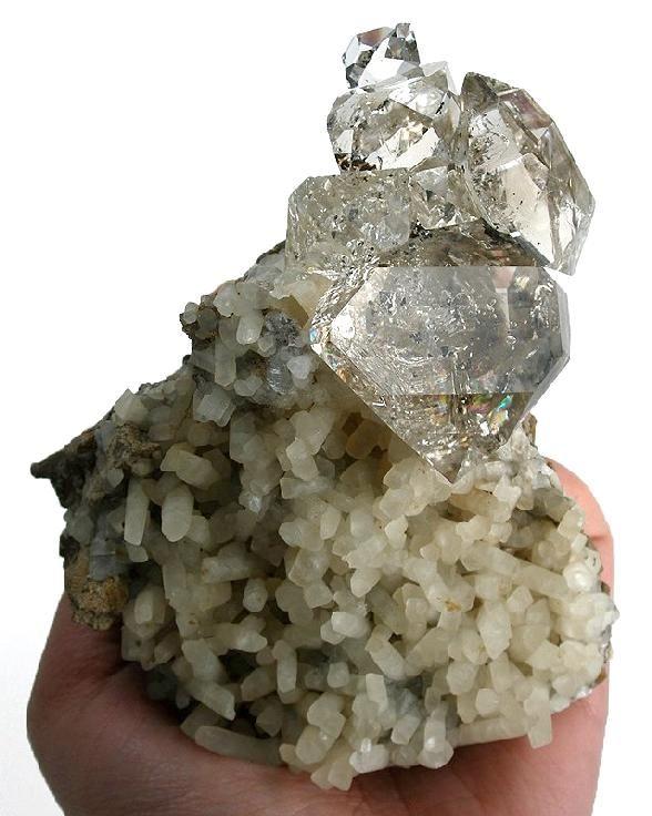 + QUARTZ var. HERKIMER DIAMOND on Calcite . Herkimer ...