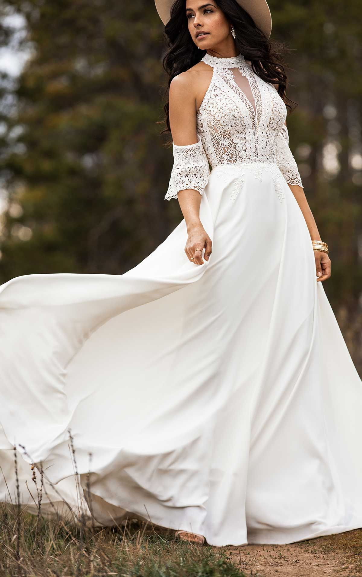 Simple Bohemian Wedding Dress With Removable Arm Cuffs All Who Wander Boho Wedding Dress Wedding Dresses Bohemian Style Dresses [ 1914 x 1200 Pixel ]