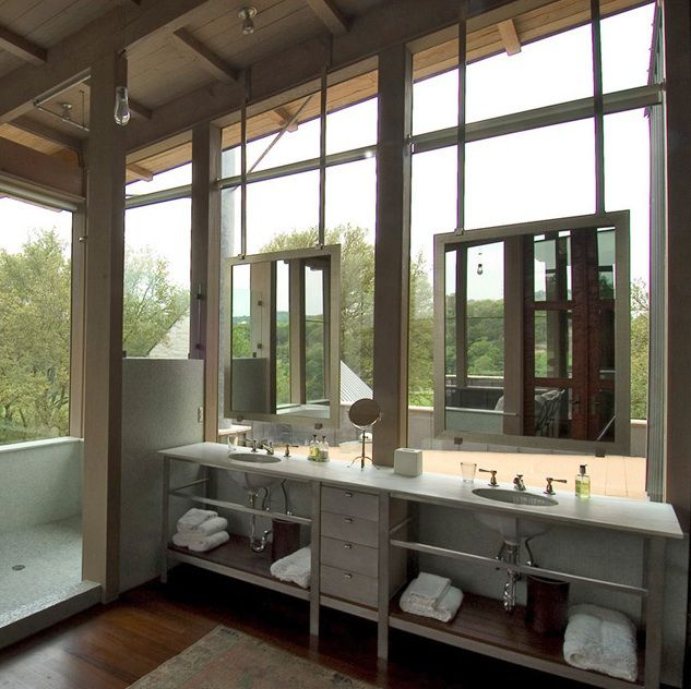 Placing Mirrors In Front Of Windows Mecc Interiors Inc House Design Modern Bathroom Home