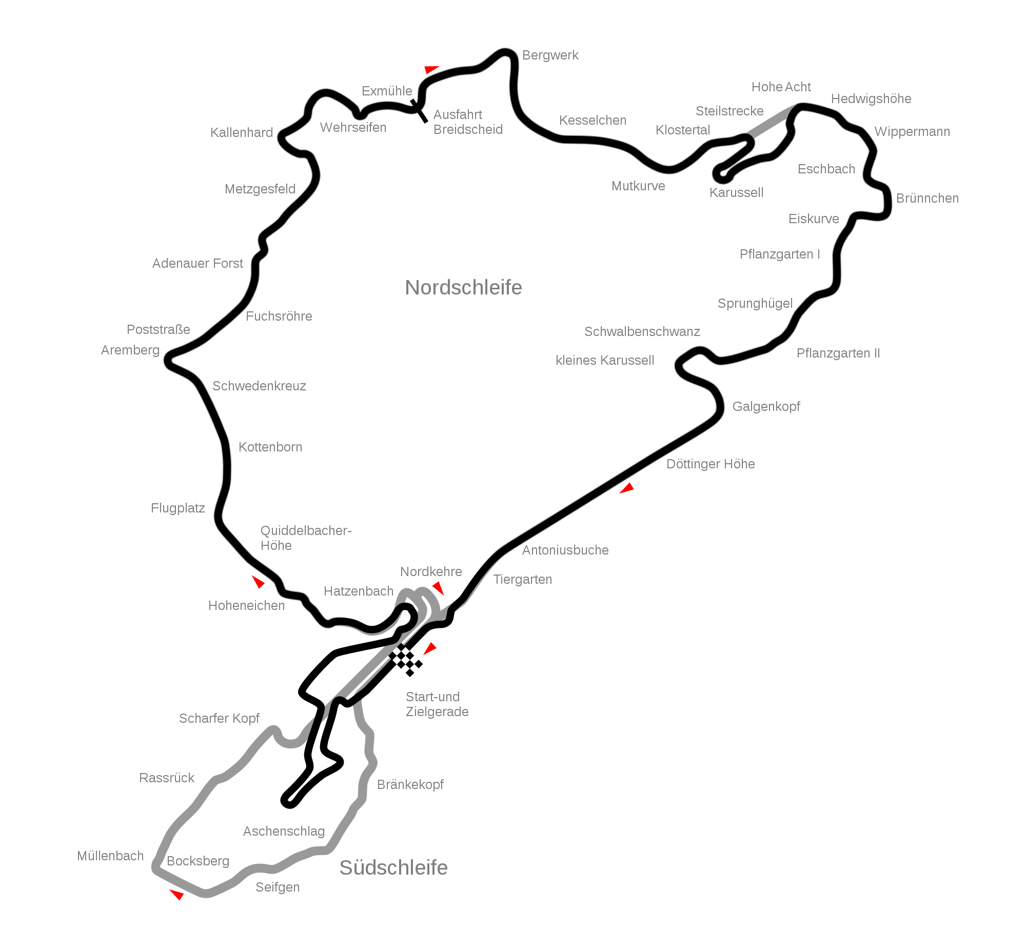 Nurburgring Showing New Gp Track Layout At Southern End Of