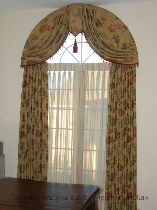 Arch Top Window Swag And Draperies Shrewsbury Ma Curtains