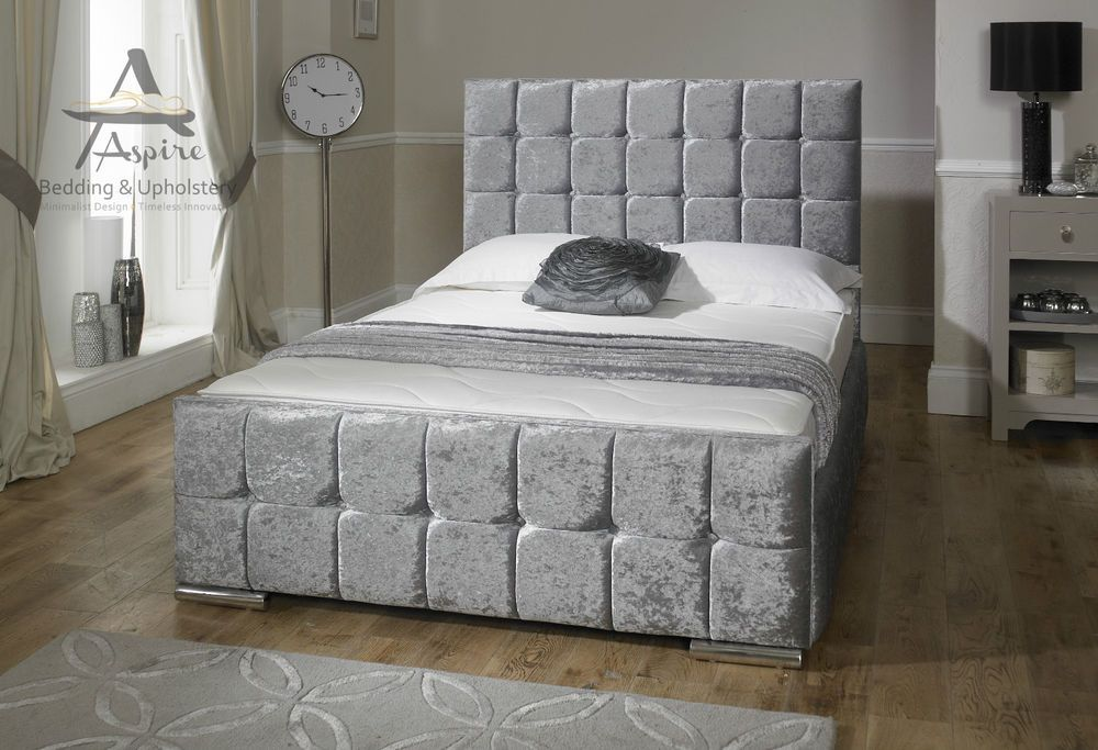 Nevada Cube Velvet Fabric Upholstered Storage Bed 4'6