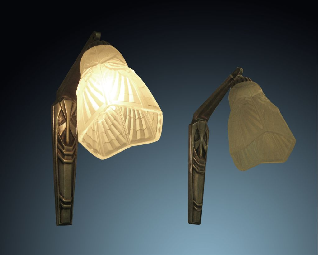 Pair of Original French Art Deco 1920's Tulip Sconces | From a unique collection of antique and modern wall lights and sconces at https://www.1stdibs.com/furniture/lighting/sconces-wall-lights/