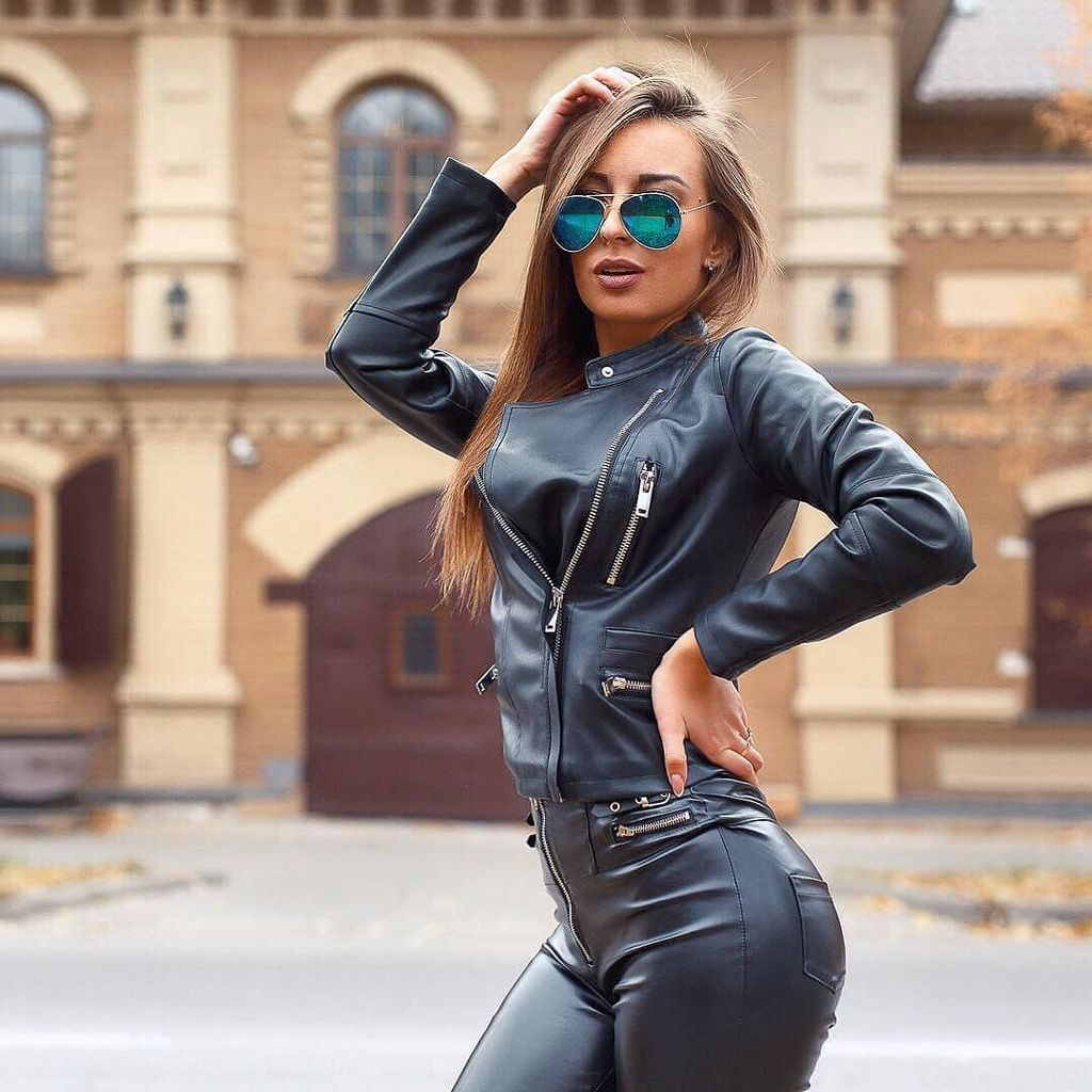 Tight Leather Pants And Leather Jacket Outfit Leather Jacket Girl Leather Outfit Shiny Pants [ 1024 x 1024 Pixel ]