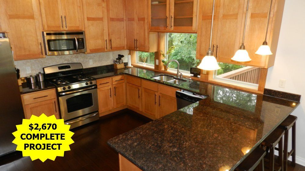 Sapphire blue granite with maple cabinets and dark floors ... on Maple Cabinets With Black Countertops  id=77415