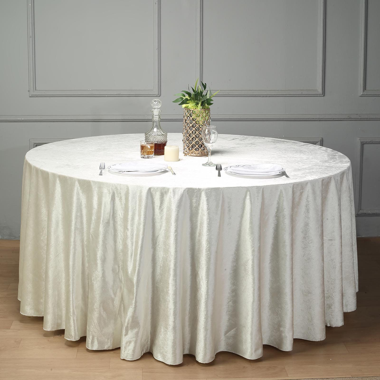 120 Premium Velvet Round Tablecloth Ivory In 2020 Table Cloth Round Tablecloth Tablecloth Sizes