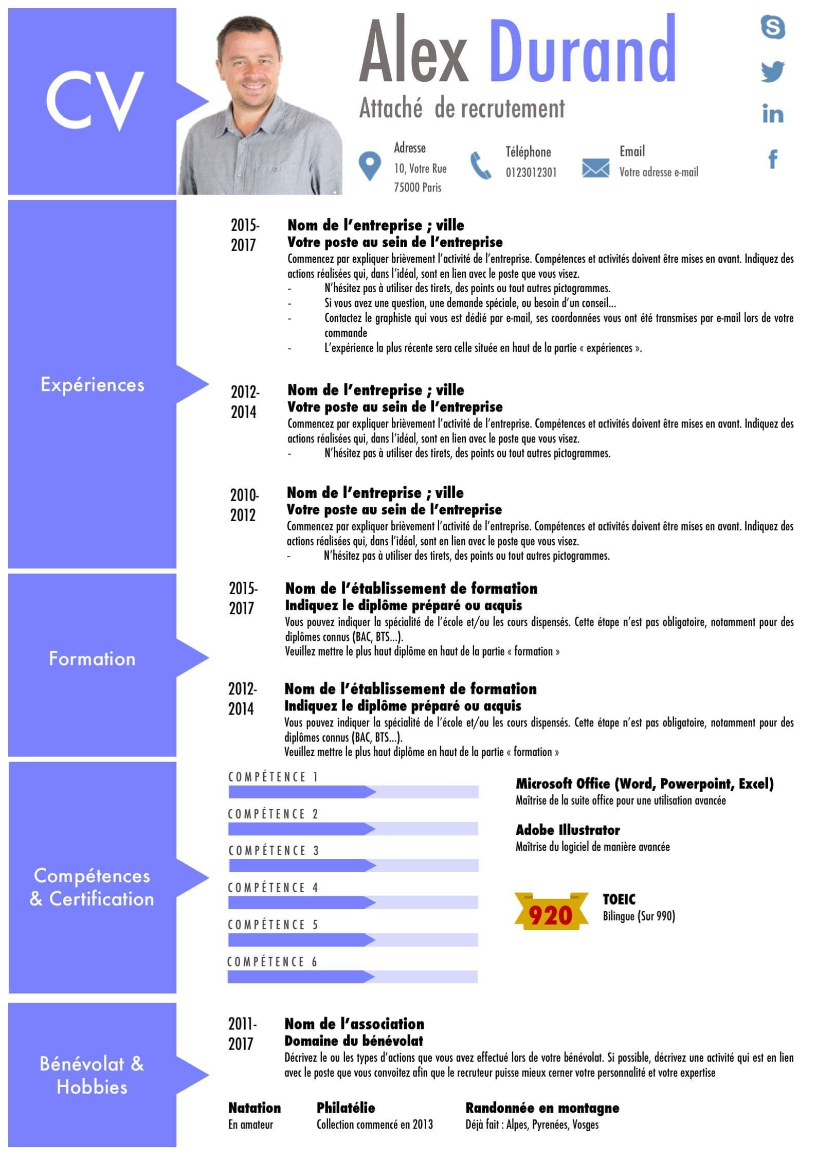 photo cv modele powerpoint lettre de motivation