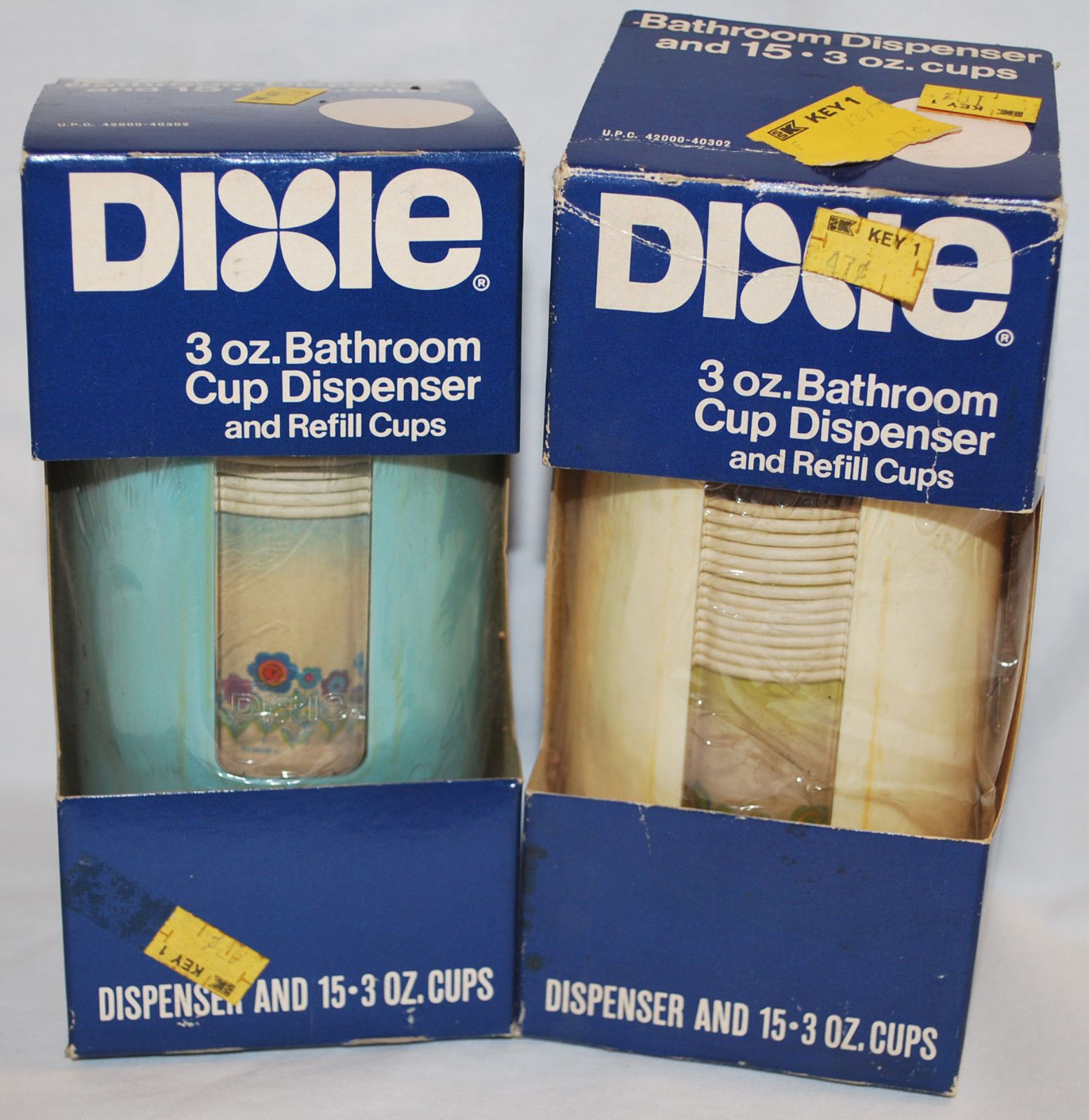 2 Vintage Retro Nos Dixie Cup Bathroom Wall Mount Dispensers White And Blue