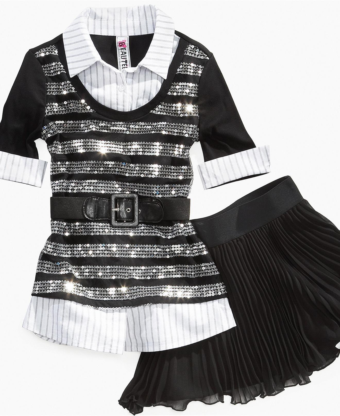 Beautees Girls Skirt, Girls Pleated Skirt - Kids Girls 7-16 - Macy's