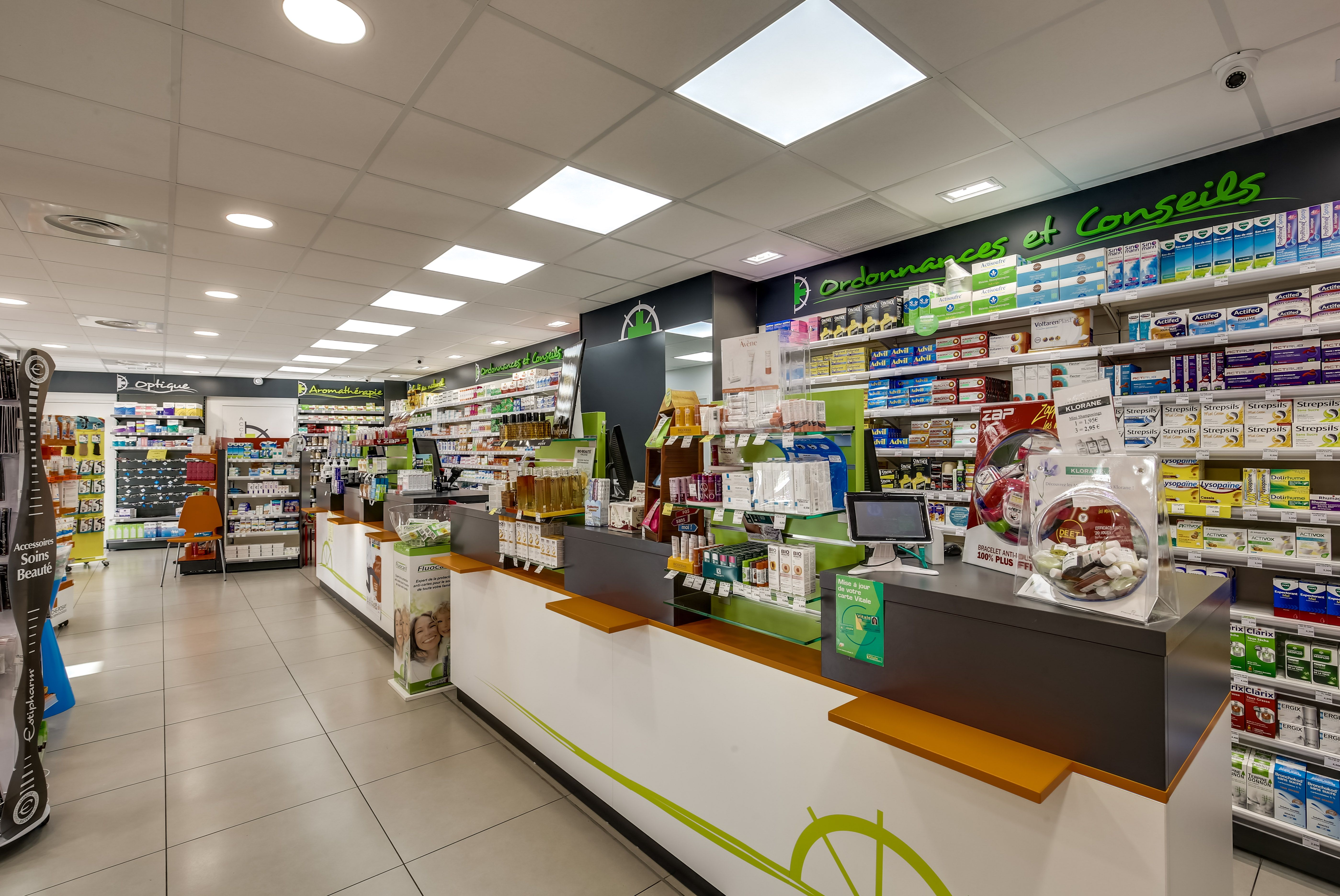 Comptoir pharmacie design personnalis logo communication - Le comptoir des pharmacies ...