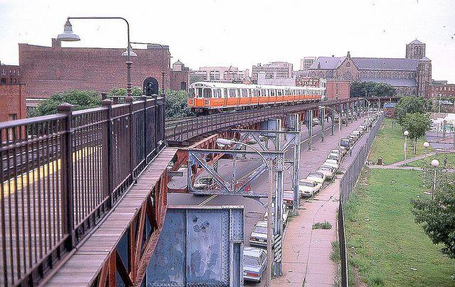 1950s Mbta Elevated Subway Map.Washington Street Elevated Orange Line Dover Station South End