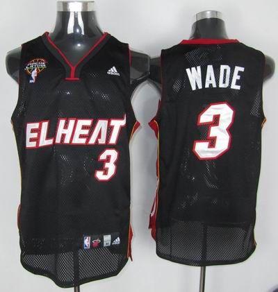 new product a231a 91847 Adidas NBA Miami EL Heat 3 Dwyane Wade Swingman Black Latin ...
