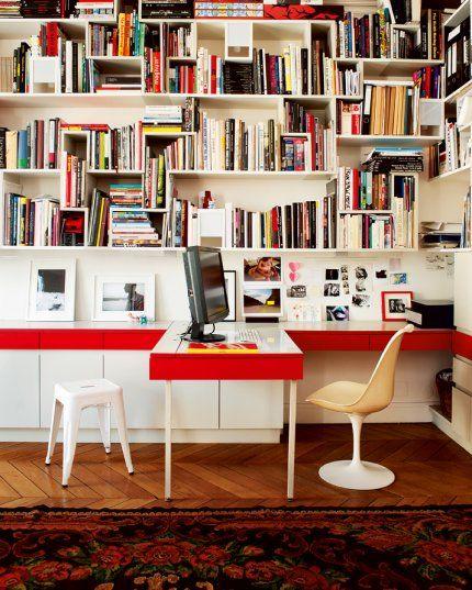 bibliothèque avec bureau et rangements intégrés | Salon | Pinterest ...