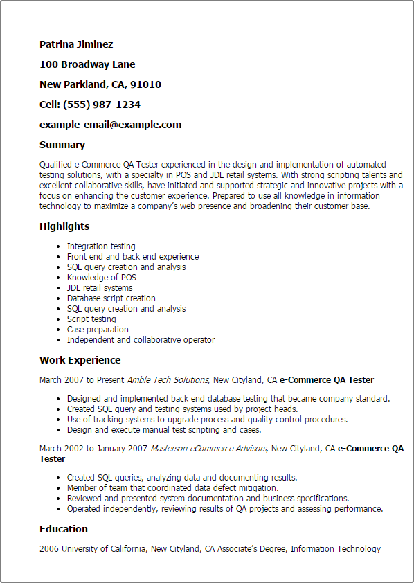sample software testing resume for 4 experienced