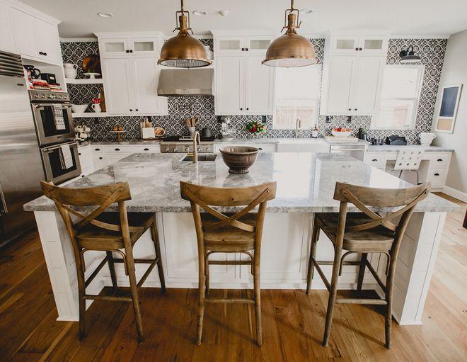Farmhouse kitchen lighting restoration hardware harmon pendant in beautiful homes of instagram aloadofball Images