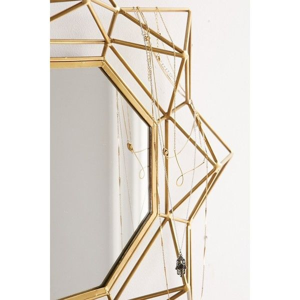 4040 Locust Geo Wire Mirror ($59) ❤ liked on Polyvore featuring home, home decor, mirrors, wall mirrors, wire home decor, home wall decor and wall mounted mirror