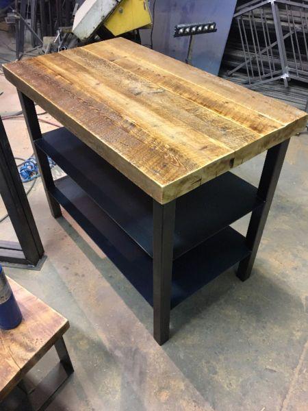ilot de cuisine en bois de grange et acier longeur  42