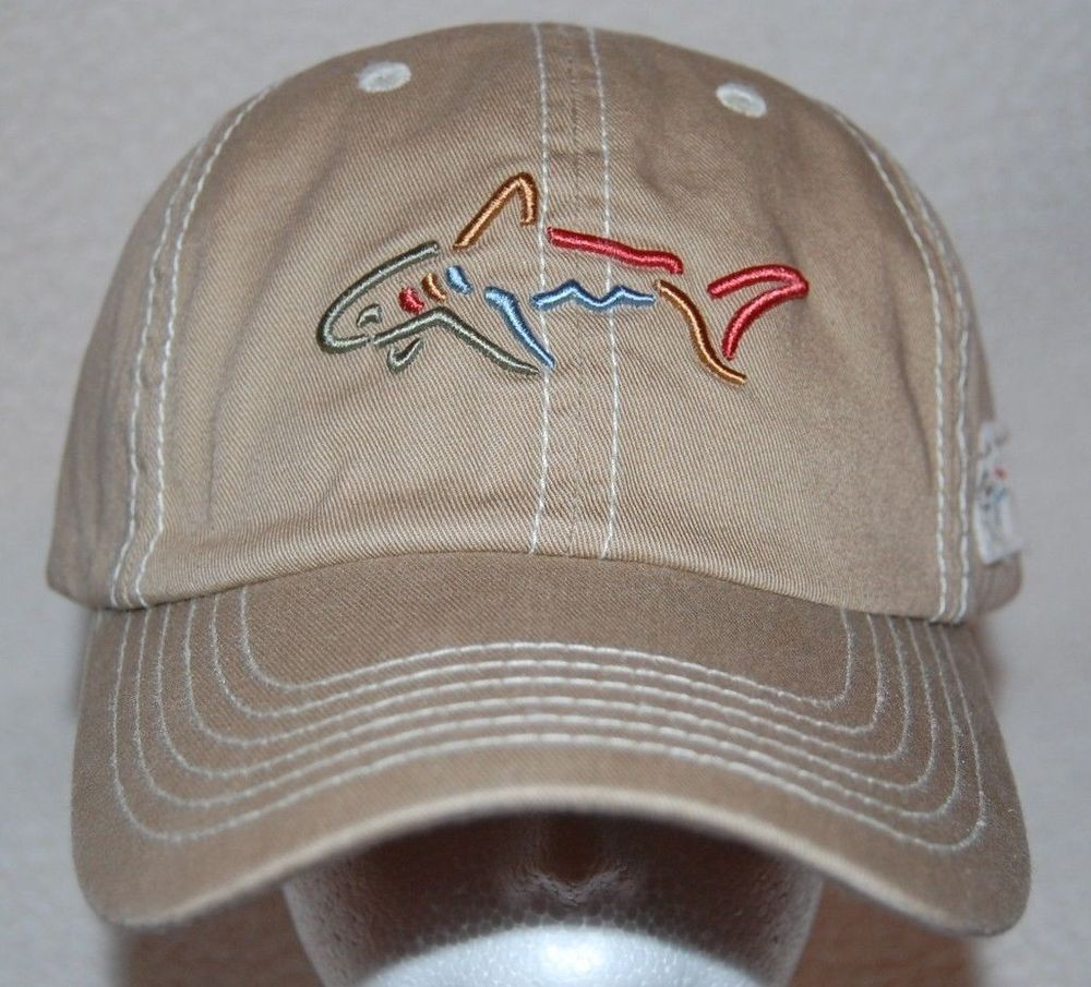 Greg Norman The Shark Logo Beige Mens Baseball Hat Cap Strapback One Size Mens Hats Baseball Hats For Men Cotton Hats