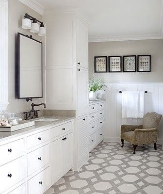 Gray Bathroom With White Cabinets And Oil Rubbed Bronze Fixtures
