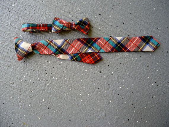 Bow Tie and Neck Tie Set - Red Plaid - Christmas - Adjustable Velcro Closure