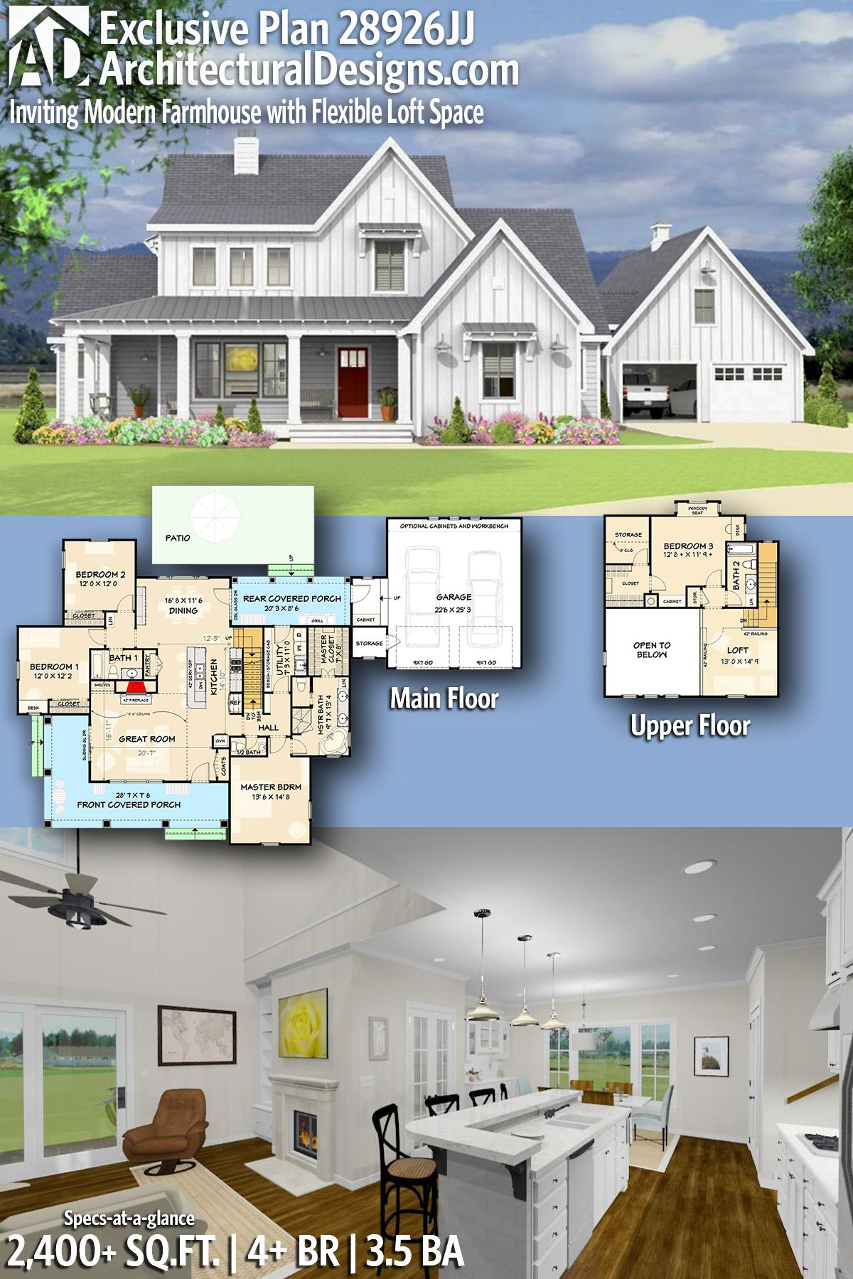 5 bedroom loft floor plans  Plan JJ Inviting and Exclusive Farmhouse with Flexible Loft