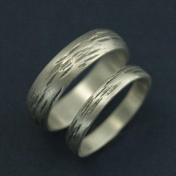 3mm Aspen Ring Silber Hochzeit Band Silber Rinde Band Native