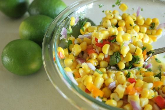 This corn salsa is soooo yummy. I love how beautiful it looks with all the different colors; red, orange, yellow, green and purple.