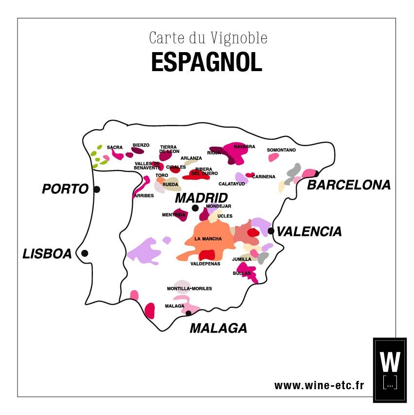 Carte Vin Espagne.Carte Du Vignoble Espagnol Carte Vin Vino Wine