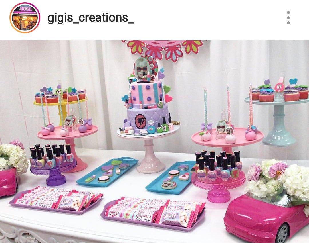Barbie Theme Dessert Table And Decor Dessert Table Birthday Barbie Theme Barbie Birthday Party
