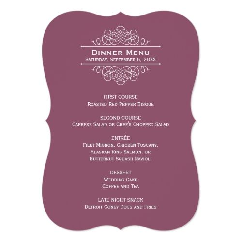 Wedding Dinner Menu Card  Muted Wine Red  Wedding Dinner Menu
