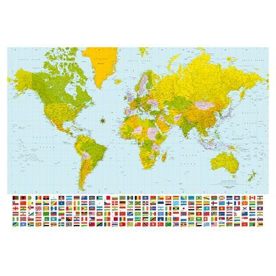 Provincial wallcoverings dm280 map of the world with flags large provincial wallcoverings dm280 map of the world with flags large mural gumiabroncs Images