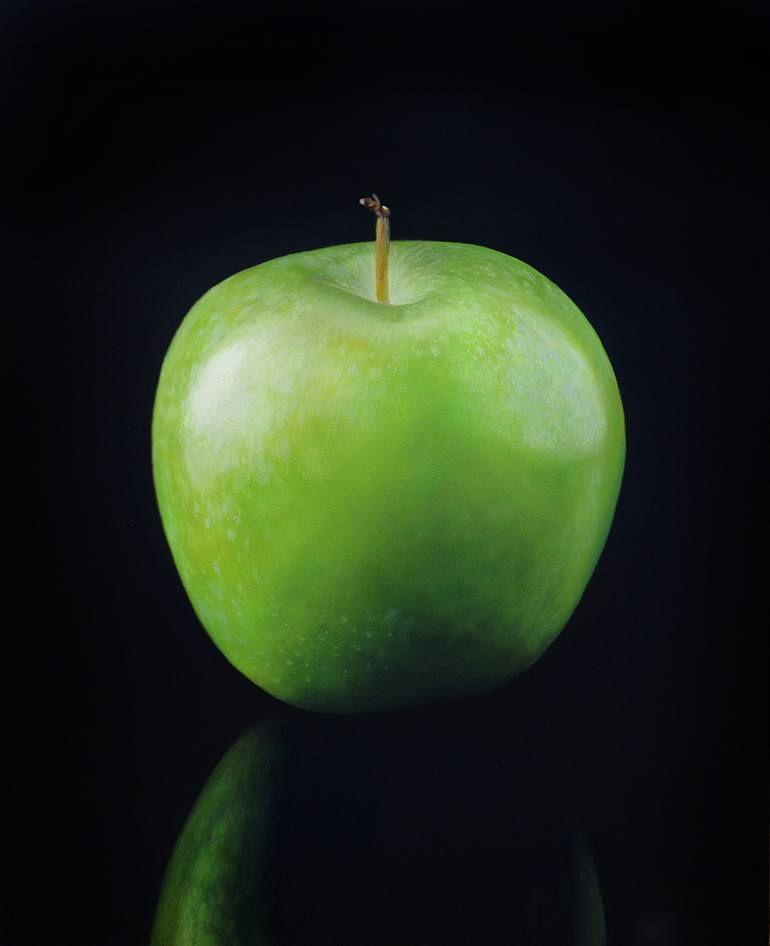 Original Still Life Painting By Francesco Marino Figurative Art On Canvas Mela Verde Apple Photo Green Apple Fruit Photography