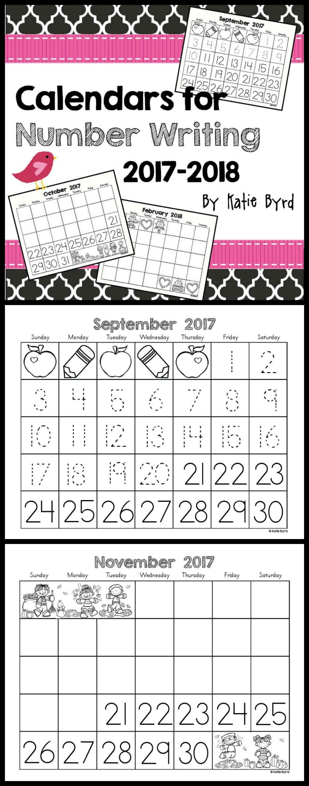 Calendars for Number Writing ~Perpetual~ | Kindergarten math ...