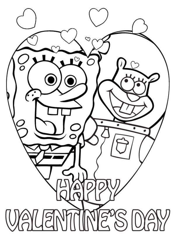 Valentines Day Spongebob and Sandy coloring page | Nicky ...