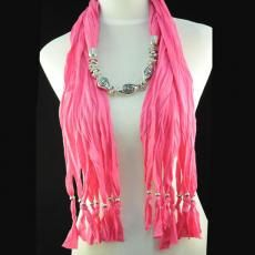 Trendy ladies fashion scarf necklace. Beautiful with silver swirl design beads Color: Hot Pink